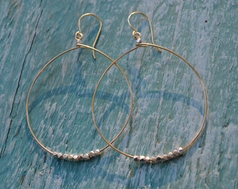 Gold and Silver Nugget Earrings, Gold Hoops with Silver Nuggets, Gold Hoop Earrings
