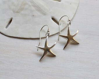 Silver Starfish Earrings, Sterling Silver Starfish Earrings, Starfish Earrings, Star Fish Earrings, Silver Starfish