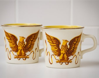 vintage coffee mugs set of 2 Patriot Golden Eagles Taylor International