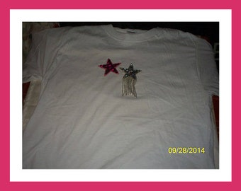 Women's Embellished Stars T-Shirt, Handmade White Sequence shirt, Size Small