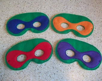 "Machine Embroidered ""Ninja Turtle"" masks"