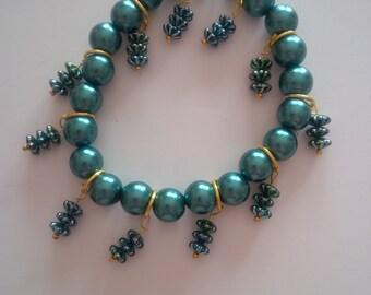 Green Beaded Charm Bracelet   (#164)