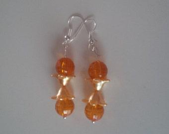 Orange Beaded Earrings   (#261)