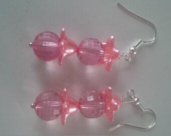 Pink Beaded Earrings   (#281)