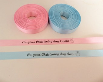 Personalised satin Christening ribbon any name and date 15mm