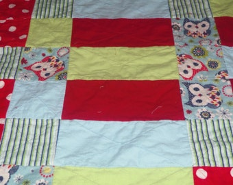 """Why Tweet when you can have a HOOT!? - Flannelette Rag Quilt (approx. 59.5"""" x 44.5"""")"""