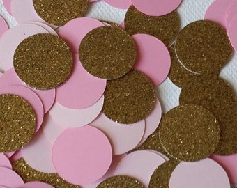 150 piece Confetti Pink +Gold + Soft Pink, Princess Birthday, Pink confetti, Gold Confetti, Girl Birthday, Confetti