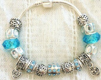 Antique Tibetan Silver Plated Blue Rhinestone Hearts Charms Beads Bracelet 7.5 Inches