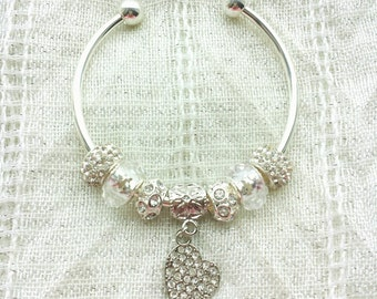 Silver Rhinestone Heart Charm Silver Plated Bangle 7.5 Inches