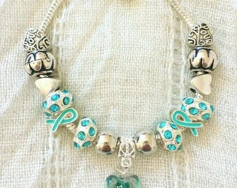 Turquoise Ribbon Glass Heart Antique Rhinestone Charm Silver Plated Bracelet 7.5 Inches