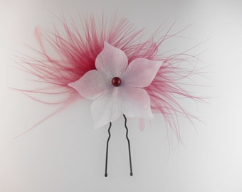 Bridal hair pin or clip handmade with satin flower, ostrich burgundy feather and pearly bead. Wedding hair accessory !