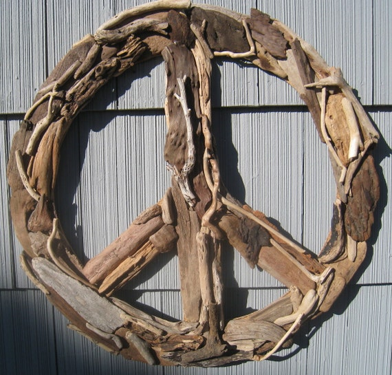 Driftwood peace sign 23 beach decor wall decor driftwood Driftwood sculptures for garden
