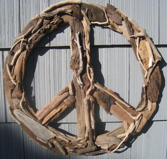 Driftwood Peace Sign 23 Beach Decor Wall Decor Driftwood: driftwood sculptures for garden