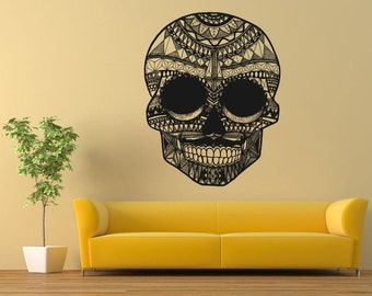 Wall Vinyl Sticker Decals Mural Room Design Pattern Scull Tattoo Skeleton Floral bo592