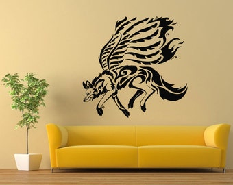 wall vinyl sticker decals mural room design pattern wolf dog wild animal wings bo755 - Wall Vinyl Designs