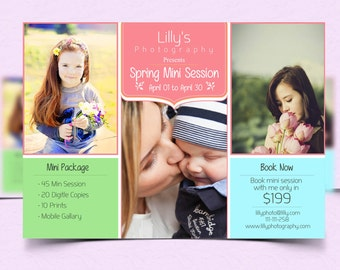 Photography Spring Mini Session Template - photographer Advertising - Photoshop template INSTANT DOWNLOAD