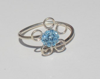 Handmade silver 925 Women's Flower ring with Swarovski crystals. Spring Flower Ring-Minimalist jewelry-Gift-Delicate-Crystal Ring-Aquamarine
