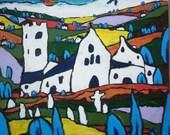 "Original Acrylic painting, Landscape Painting, Original Art, Landscape Painting, Expressionist painting, Impressionist Painting 24""x24"""