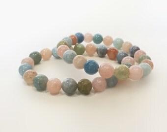 Beryl Bracelet, Gemstone Bracelet, Pastel Bracelet, Multicolor Jewelry, Healing Bracelet, Stretch Beads Bracelet, Handmade Bracelet