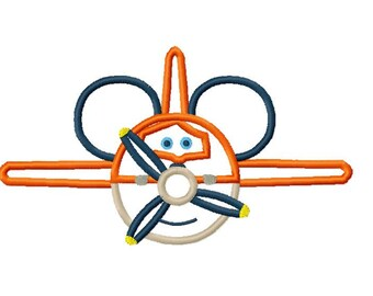 Character Inspired Plane Embroidery Applique Design