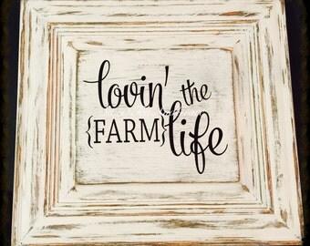 Farmhouse Sign | Farm Sign | Reclaimed Wood | Lovin The Farm Life | Cabinet Door Sign | Distressed Cabinet Door | Farm Life | Farm Love