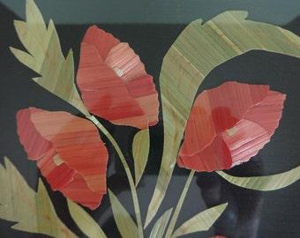 Straw Art, Flowers in Vase Straw Art, Straw Art Picture, Floral Art, Poppies in Vase Straw Art, Floral Picture, Poppies, Floral Straw Art