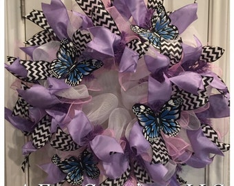 FREE SHIPPING!! Blue Butterfly Deco Mesh Wreath