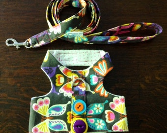 Small Harness With Matching Leash in a Butterfly Print