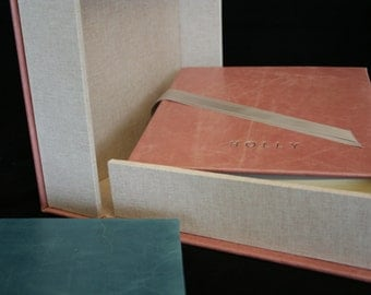 "9"" x 9"" Luxury leather photo album with matching leather & linen clamshell box. Available in Aqua or rosa pink"