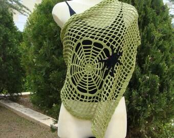 Handmade bright green crochet cotton versatile shawl / wraparound with spider for all seasons