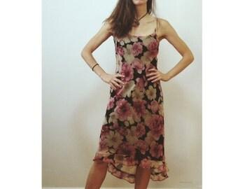 Vintage 90's Floral Print Slip Dress Alyn Paige Size 4 Pink Black Made in USA