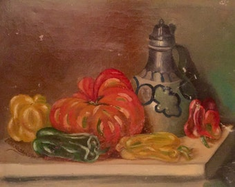 Still life with tomato and peppers (antique oil painting)