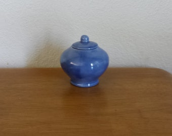 Ceramic Small Pot belly Jar with lid in light blue glaze (#648C)