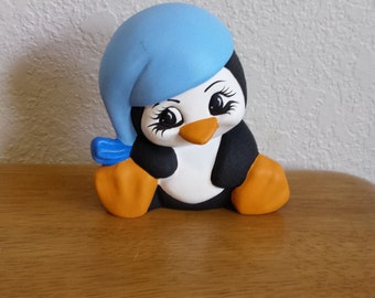 Ceramic Sleepy Penguin sitting up (#38A)