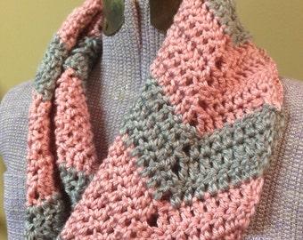 Pink & Gray Chevron Cowl