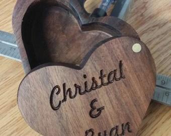 Custom Engraved Heart Shaped Ring Box/Trinket Box