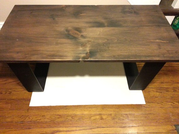 Rustic Dark Walnut Stained Coffee Table Steel By Tablesforasteel