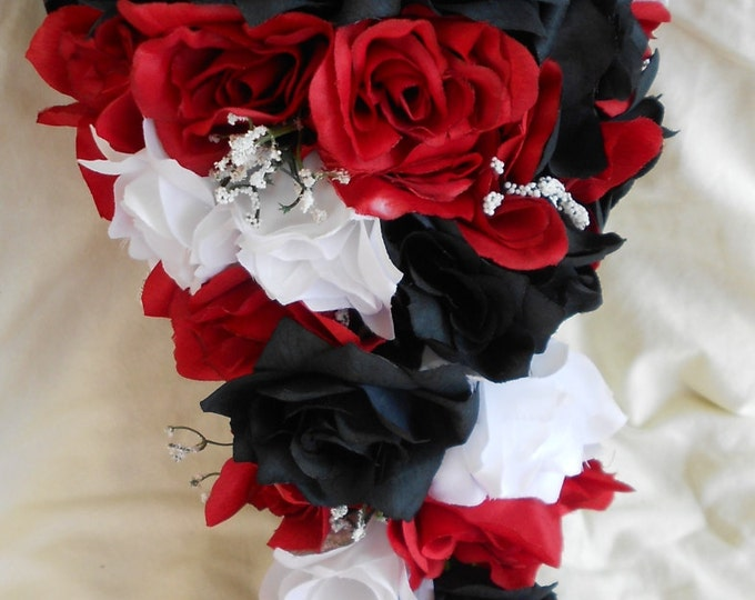 Silk Black red and white cascade wedding bouquet groom boutonniere includes