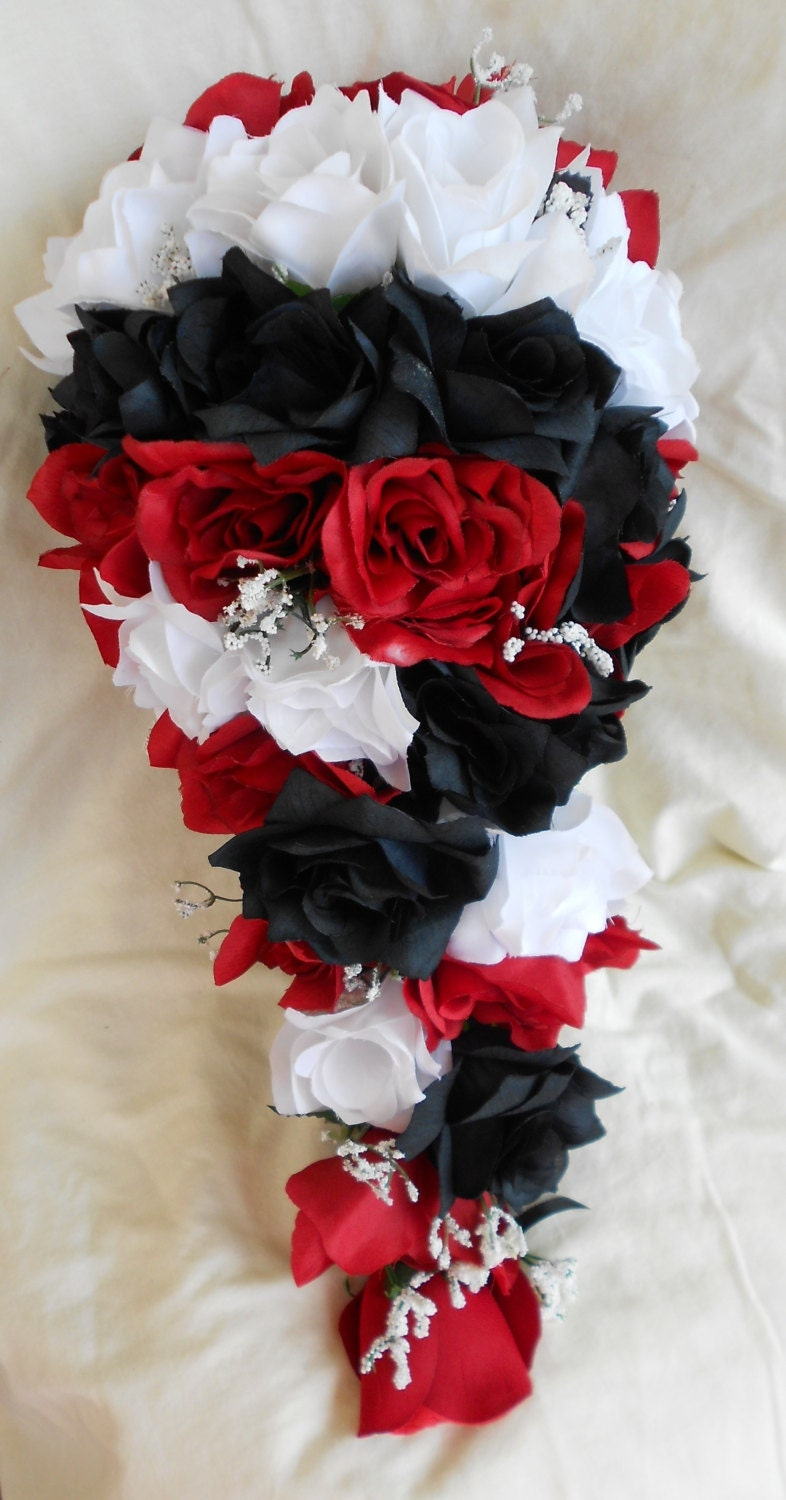 silk black red and white cascade wedding bouquet groom. Black Bedroom Furniture Sets. Home Design Ideas