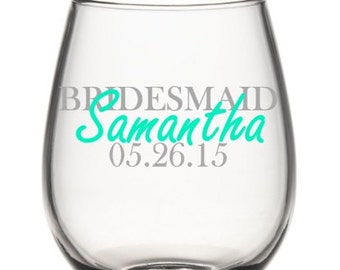 Bridesmaid  Wine Glasses, Bridal Party Wine Glasses, Custom Wedding Party Wine Glasses, Personalized Wedding Wine Glasses
