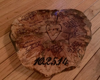 Rustic wood slice wedding guestbook