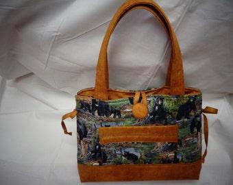 Black Bear theme Bow tuck bag