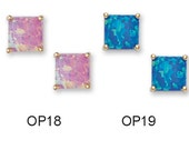 14K Pure Solid Yellow Gold Princess Cut 7X7 Opal Basket Set Earrings (Available in Multiple Variations)
