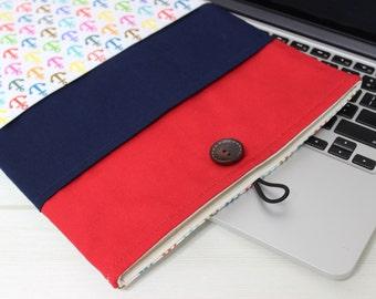 15 Macbook Sleeve, Nautical laptop sleeve, Macbook Pro 15, Macbook Pro Retina, Unique Gift, Navy laptop sleeve, Anchor pattern, Marine