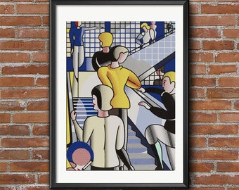 Roy Lichtenstein - Bauhaus Stairway, Roy Lichtenstein Posters, Pop Art Posters, Pop Art Prints, Vintage Poster,  Art Reproduction