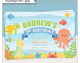 Under the Sea Birthday Party Printable Invitations - Sea Animals Invitation #372