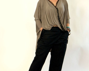 New collection/Loose Tunic/Drape Tunic/Beige Oversize Top/Cotton Top/Jersey Cotton Gray Tunic/Extravagant Top/Drapee Maxi beige tunic/T1339