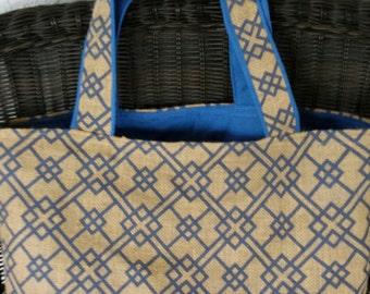 Blue Print Burlap Tote Bag