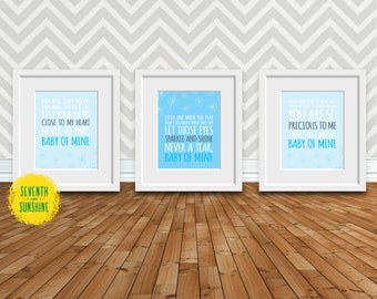 Baby of Mine (Dumbo Song)-Blue and Gray Nursery-8x10 Digital Prints-3 Pack - Baby Mine - Baby Room Decor