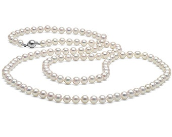 Classic White Cultured Japanese Akoya Opera Length Pearl Necklace, 36-Inches, AAA Quality, 14K Gold Clasp